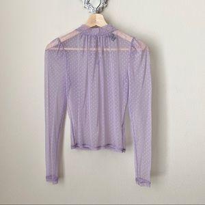 Forever 21 purple sheer polka dot blouse